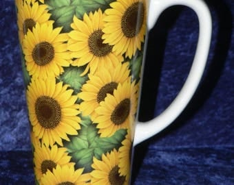 Sunflower chintz ceramic large latte mug 3/4pt capacity- personalised if required at no extra cost