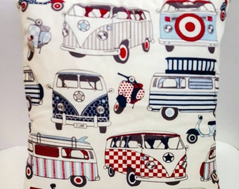Voltswagan cushion cover and cushion matching print front and back. Pillow cases,caravan,home,bedroom,home decor,children's bedroom,