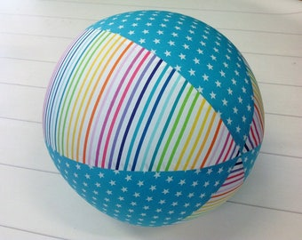 Balloon Ball Fabric, Balloon Ball Cover, Portable Ball, Travel Ball, Inflatable, Sensory, Special Needs, Rainbow, Stars, Aqua, Eumundi Kids