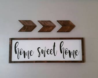 Home Sweet Home Framed Wood Sign, Signs, Wood Signs, Framed Wood Signs, Home Decor, Wall Hangings, Wall Decor, Rustic Signs