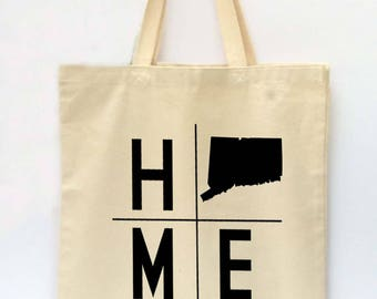 State Tote Bag, Connecticut Tote, Reusable Grocery Bag, Market Tote Bag, Teachers Gift, Canvas Tote Bag, Printed Tote Bag, Shopping Bag
