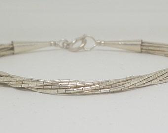 Vintage Sterling Silver Native Southwestern Multi Strand Bracelet