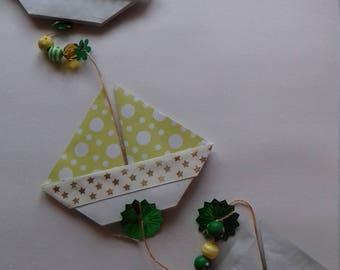 origami boat hanging decoration