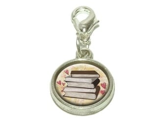 Stack Of Books Dangling Bracelet Pendant Charm