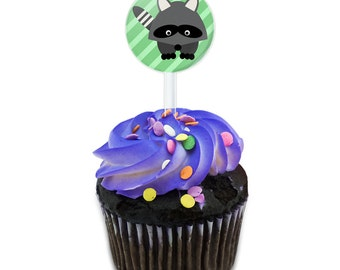 Woodland Raccoon Cake Cupcake Toppers Picks Set