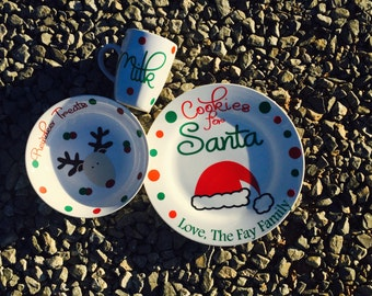 Cookies for Santa Plate & Milk Mug Set, Cookies for Santa, Santa Plate and Mug, Christmas Plate, Christmas Santa Plate, Christmas Cookies