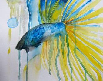 "Original Betta Fish Watercolour abstract 12"" x 18"""