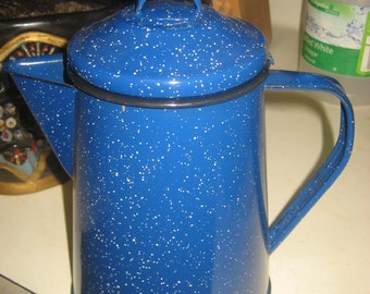 Blue Speckled Cowboy Coffee Pot from Big Sur Lodge, California
