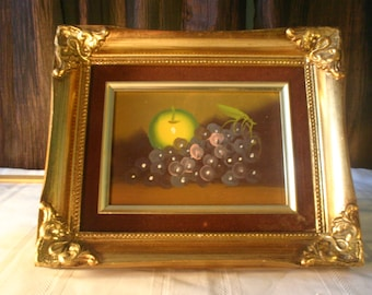 Grapes and Single Apple Framed Oil Painting - Free Shipping
