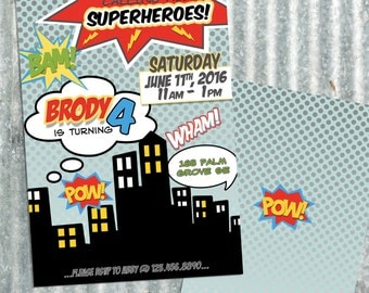 Superhero Comic Birthday Invitation