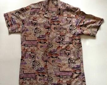 1970's mens button up shirt / patterned dress shirt / mens patterned shirt / short sleeve button up / summer button up / mens hippie shirt