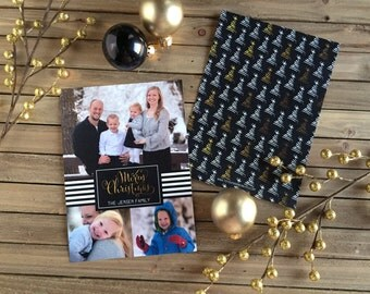 Digital Christmas Card - Customizable - Photo Christmas Card - Black and Gold Trees