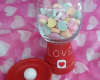 Candy dish with love on it