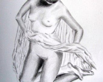 Ellie, 2017. Original Pencil Drawing Erotic Nude Naked Woman Sexy Erotic Art Pencil on Paper Female Body Study Fine Pencil Art