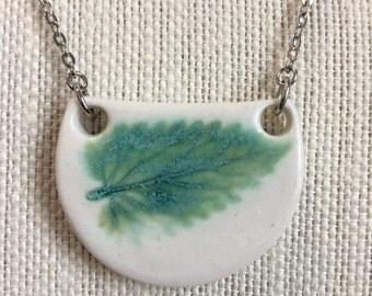 Green Leaf Porcelain Ceramic Pendant Necklace
