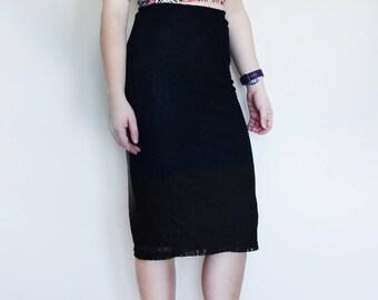 Lacy Long Black Pencil Skirt, Medium/5