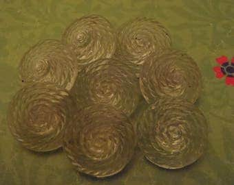 Vintage Buttons 8 Clear Glass Rope Coil or Beehive buttons 3/4 inch (18mm) diameter sew knit scrapbook craft jewelry