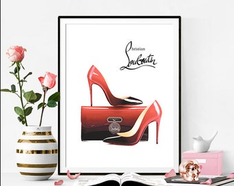 Christian Louboutin, fashion illustration, shoes and bag, Diy, printable poster, gift card