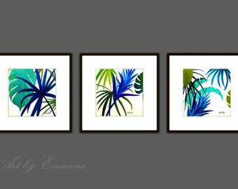 Fine Art Prints, Set of 3 Plant Print, Abstract Painting, Plant Painting, Modern Abstract Art,Tropical Art, Square Prints