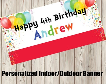 "18""x30"" Festive Balloons Celebration Personalized Party Banner"