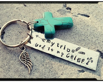 My Tribe - God is my CHIEF - Stamped Pewter Keychain//Turquoise Cross//Wing Charm - Religious Charm Keychain/Spiritual - New Car/Driver Gift