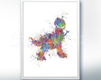 Disney Pixar Toy Story Rex Dinosaur Watercolor Poster Print - Watercolor Painting - Watercolor Art - Kids Decor- Nursery Decor