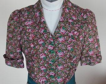 Vintage Floral 1970s Dress Floral Print Shirtwaist Prairie Boho
