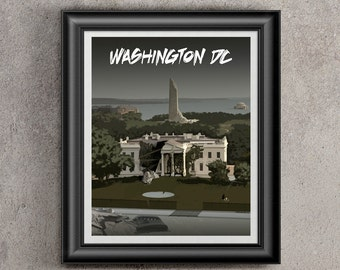 Postcard from Post Apocalyptic Washington DC - White house, Washington Monument, Global Warming, Climate Change, present for gamer, DC print