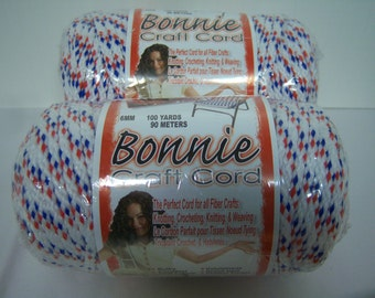 Bonnie Craft Cord, Two Red, White, Blue, 6mm, 100 Yards, One 4 mm, 100 Yards, Oatmeal, Color Fast, Heat Fusible, New In Plastic, Made In USA