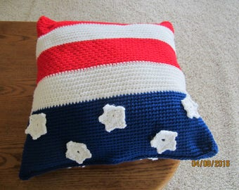 """Red, White & Blue pillow * about 15"""" x 15"""""""