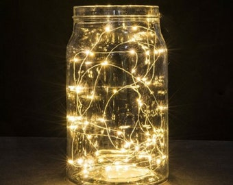 TIMER - 7/14 feet 20/40 LED Copper String Light Fairy Lights Battery Operated Wedding Centerpiece Warm White