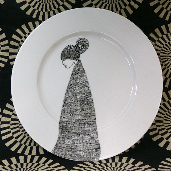 Hand painted porcelain collection plate  - Pensive woman 1