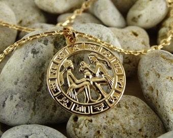 Gemini necklace gemini pendant gemini charm gemini jewelry gold plated pendant gold pendant zodiac necklace surgical steel gold plated charm