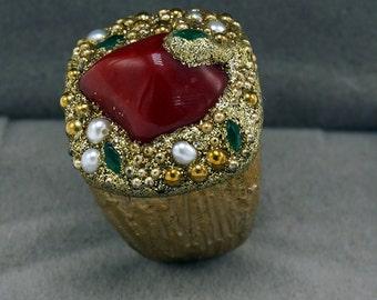 Sterling Silver Ring Gold Plated with Coral Gemstone