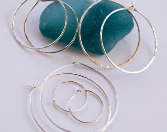 Sterling Silver Hoops - Artisan Sterling Hoop Earrings - Hoops for Interchangeable Earring Dangles - Choose your Size Hoop - MahiDesigns1