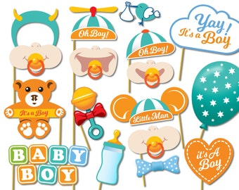 Baby Shower Photo Props - It's a Boy Photo Booth Props - Printable Photo Booth Props - Baby Boy Printable Party Props - 0217