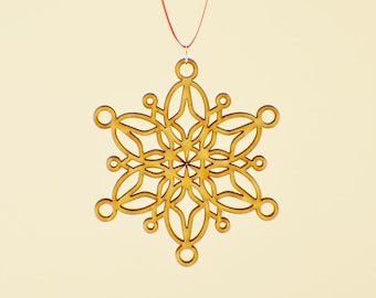 Laser Cut Wood Snowflake Ornament - Design #4 - 50% off