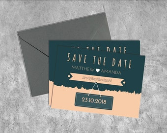 Blush & Navy Save the Date Printable Invitation