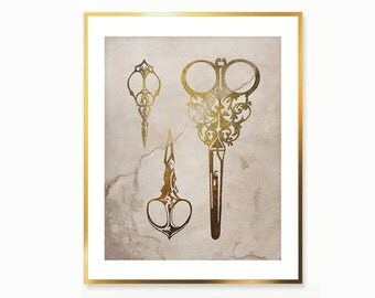 Victorian Antique Scissors DIGITAL Print Art Decor , Vintage Painting , Gold Scissors Print , Print for cafe shop , Antique old paper decor