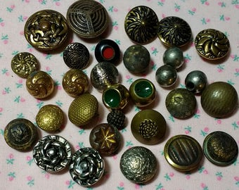 30 Small Vintage Metal Buttons