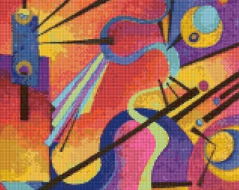 Kandinsky 2 Abstract painting Cross Stitch Pattern - PDF Instant Download