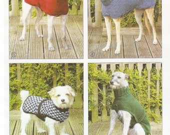Coats and Sweaters for Large and small Dogs Knitting Pattern DK & Chunky Wool