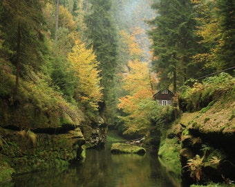 """Cabin in the Bohemian Switzerland"" photo canvas"