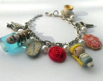Alice in Wonderland Charm Bracelet, cupcake, earrings, bottle, eat me, drink me
