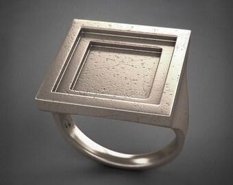 Square Ring - Rito - acciaio/argento/titanio - Idea Regalo - Spedizione gratuita in Europa