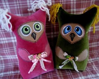 Owl toy, handmade Owl, textile Owl, handmade Bird
