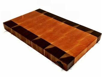 Handcrafted End Grain Cutting Board, Cherry Walnut Cutting Board