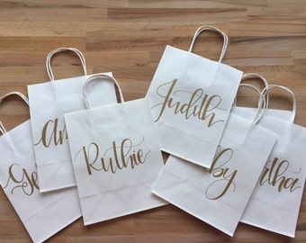 Personalized Hand-Lettered Gift Bags/ Weddings/ Showers/ Bridesmaids/ Wedding Party/ Birthdays/ Holidays