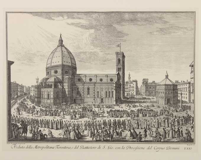 "Engraving ""View of the baptistery of St. John and the procession of Corpus Domini"" by Giuseppe Zocchi, 19 century"