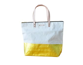 Metallic Canvas and leather Tote Bag with Leather Handles in Metallic Gold Dip- Medium sized. Shopper bag